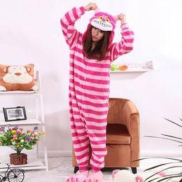 Wholesale 2016 New Sleepsuit Cheshire Cat Pajamas Adult Onesie Animal Rompers Womens Jumpsuit Cartoon Cosplay Costumes Pyjama