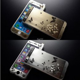 Promotion plaque d'écran Pour iPhone 5 5S 6 6plus HOT Front + Retour 3D Papillon Plaquage Metal Skin Sticker Couverture Étui ultra-mince en verre trempé Protecteur