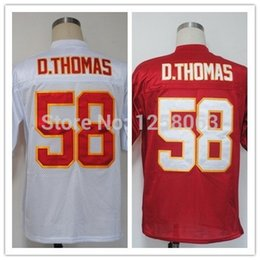 Wholesale Factory Outlet Christmas Clearance Sale Derrick Thomas White Red Men s Throwback Football Jerseys Size Mix order