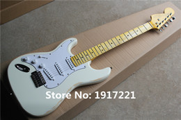 Wholesale Factory Customized White Left handed Electric Guitar with Vintage Maple Fretboard in Old Style and Can be Changed