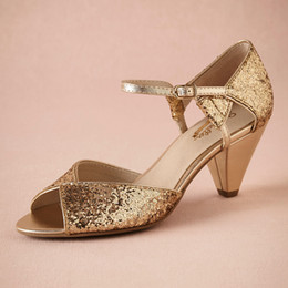 """Gold Glitter Spark Wedding Shoe Handmade Pumps Leather Sole Comfortable Pumps Toe 2.5"""" Leather Wrapped Cone Heels Women Sandals Dance Shoes"""