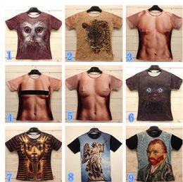 Wholesale 10 styles Summer men s clothing creative Pharaoh Animal Nude D t shirt fashion novelty men shirt Animal muscle men realistic pattern