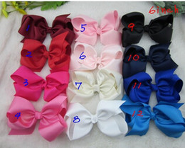 new 2015,6 inch big ribbon bows,Girls' hair accessories hair bow with clip, hot selling bows for girl ,.64pcs,25colors