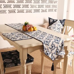 Spring and summer fashion small fresh cotton printed table runner line branches flower table table runner custom wholesale