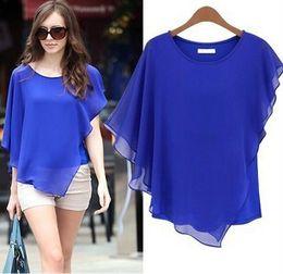 Wholesale 2015 Summer Europe Style Dresses Woman lady Blouses Bat Sleeves T Shirt Round Neck Chiffon Tops Sexy Elegant sizeS XL Blue Yellow Khaki