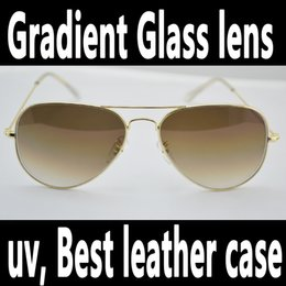 Wholesale 2016 classic brand gradient glass lens air man Vintage women s fashion pilot sunglasses new men s gafas de sol metal glasses with full box