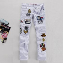 Wholesale New White Men s Jeans Air Force Badge Cotton Slim Fit Mens Jeans Patches Distressed Ripped Embroidery Jeans