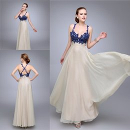 Hot Party Dresses 2016 Spaghetti Ruched Appliqued A line Chiffon Backless Sexy Prom Evening Dress Custom made