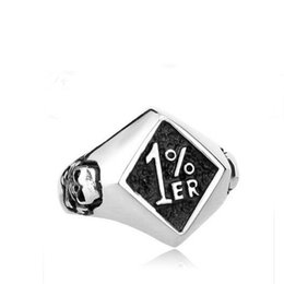 Wholesale New Outlaw Biker One pencenter er Ring for Men With Skull Fashion Motorcycle Club Jewelry