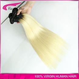 Malaysian straight 1b 613 colored two tone hair weave 3pcs lot 613 blonde virgin hair dark roots ombre 613 human hair freeship