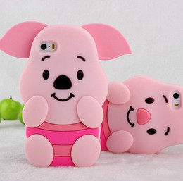 Wholesale 3D Stereo Animal Pig Piggy Soft Silicone Gel Case for iphone S Plus Fashion Lovely Big Ear cute skin cover rubber cases
