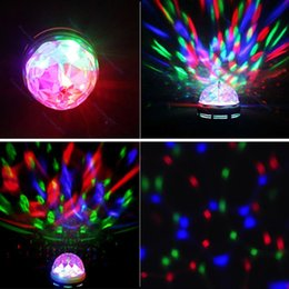 Wholesale 2pcs Mini RGB Crystal Rotating stage light Lamp Ball with E27 Base for Disco DJ LIF_249