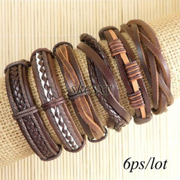 Free shipping wholesale (6pcs lot) cool bangles ethnic tribal genuine adjustable leather bracelet for men-TE120
