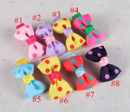 Baby Girls Ribbon Bows with Clips Children Grosgrain Bowknot Dot Hair clips Girls Hair Accessories Kids Barrettes 8 Colors BY0000