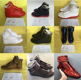 100% men's Sneakers RED SOLE and BLACK GENUINE LEATHER ankle boots shoes Maison Martin Margiela handmade men size 39-45