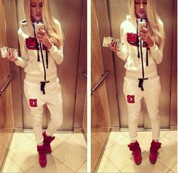 New arrive Spring autumn woman letter sweater Black Star Timati star guard pants white sports suit Free shipping