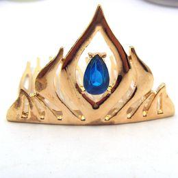 Wholesale New Arrival Fashion Frozen Elsa Coronation Crown Zinc Alloy Crystal Gold Crown Tiaras Jewelry Hairwear For Girls