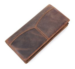 Leather Long Wallet Men Genuine Leather Casual Style Mens Purse Wallet Billfold With Zipper Coin Pocket MOQ 1 Piece