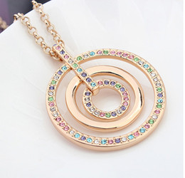 Fashion Long Necklace Pendant Women Vintage Jewelry Long Sweater Chain Necklaces Swarovski Elements Crystal Big Round Necklace 10397