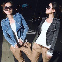 Women's Denim Coat Long Sleeve Zipper Up Motorcycle Jeans Coat Blazer Jacket Black Blue