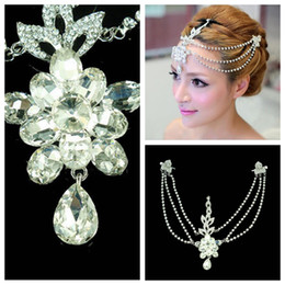 Wholesale Beading Crystal Beaded Frontlet Forehead Ornament Rhinestone For Bride s Wedding Party Floral Beaded Head Wear Pieces Hair Decoration