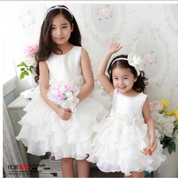 Princess White Jewel Neck Flower Girl Dresses Ruffles A-Line Satin and Organza Cheap Girl Dress for Wedding Party Gowns With Flowers