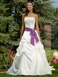 New Custom White and Purple Wedding Dresses 2019 Beads Bow Sash Court Train Pleats Taffeta A-Line Embroidery Bridal Gowns Lace-up Back W1805