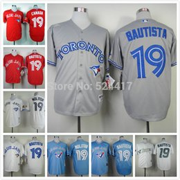 Wholesale 30 Teams cheap stitched baseball jersey Toronto blue jays Jose Bautista canada day baseball shirt sportswear