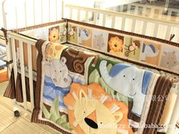 Wholesale New Embroidered Africa lion Pattern Baby boy Cot Crib Bedding Set items includes Quilt Bumper Bed Skirt Mattress Cover