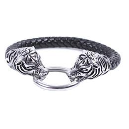 Gros hommes soutien-gorge à vendre-Vente en gros-hommes de la mode en acier inoxydable Bra Bracelets en cuir personnalisé Tiger Lion dragon crâne charme noir bracelet en cuir Bracelet bijoux
