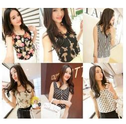 New 2015 Fashion Women Blouses Hot Selling Loose Animal Flower Sleeveless Printed Chiffon Blouse Autumn-Summer Women Tops