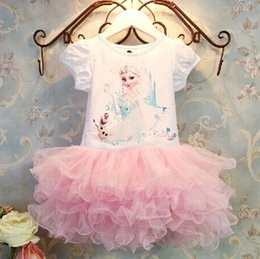 Wholesale HOT Summer Dairy Queen Baby Girl Tutu Princess Dress Cotton Short Sleeve Cartoon Frozen Elsa Kids Ball Gown Layered Dresses Pink N0513