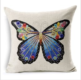 Wholesale home style antique hand painted butterfly thick cotton and lien mordern minimalist office pillow case home sofa car cushion case cm