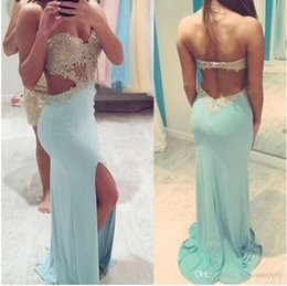 Vestidos 2015 Sexy Mint Green Long Prom Dresses Sweetheart Gold Beaded Lace Appliqued Backless Party Gowns Split Evening Dresses