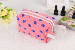Wholesale 2016 fashion lip picture Travel Cosmetic Bag Oxford fabric High Capacity Drawstring Elegant Drum Wash Bags Makeup Organizer Storage Bag