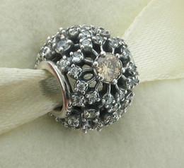 New Sterling Silver Bling Crystall Flower Charm Bead Fit for Pandora Bracelet