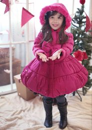 2014 New Year Girl Down Coat Korean Brand Big Bowknot Children Cotton Padded Coats Pink Rose Red Thicken %100 Warm Kids Outwear