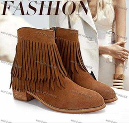 Brand New brown black low heel fringe shoes tassles boots squared heels nubuck leather ankle boots women winter shoes Size 35 to 39
