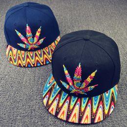 Wholesale Colorful Baseball Hat caps snapbacks Hip hop Rasta Leaf Pot Flat Pop Bill Snapback Baseball Cap hats
