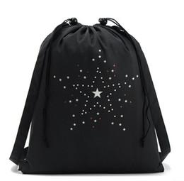 2016 Cheap bag New Black Sports Canvas Drawstring Bucket Bag Outdoor Sports Backpack Casual Star Pocket Bag