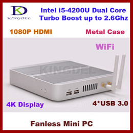 Wholesale Fanless Mini PC Years Warranty Thin Client Micro Computer Haswell SOC Intel Core i5 U K HD HTPC TV Box DHL
