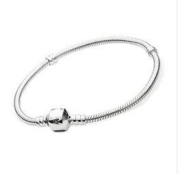 Wholesale 8 cm snake chain bracelet CHARM WHITE SILVER PLATED BRASS SNAKE EUROPEAN BRACELETS BANGLES FIT PAN DO RA BEADS