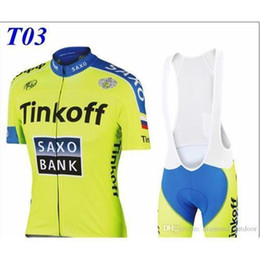 Promotion tour pro Usine HOT Tinkoff saxo banc cycliste jerseys tour de france Bike Wear Green Fluo pro maillot cycliste manches courtes + bib shorts taille XS-4XLT3