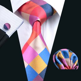 mens tie Red Plaid Silk Tie Hanky Cufflinks Set Jacquard Woven Business Fashion Accessories High Quality Fromal Ties Casual Set N-0216