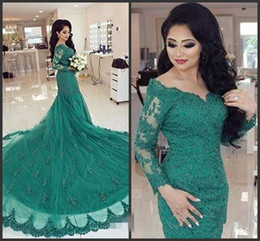 Wholesale Designer Arabic Turquoise Green Mermaid Evening Dresses Long Sleeves Cheap Sexy Lace Appliques Formal Party Prom Gowns Celebrity Dress