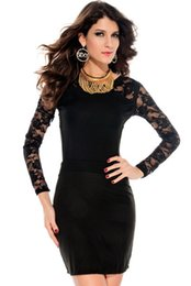 Body Hugging Fashionable summer sexy Black Long Lace Sleeves Sexy Hollow Back Mini Dress New Free Shipping 2620