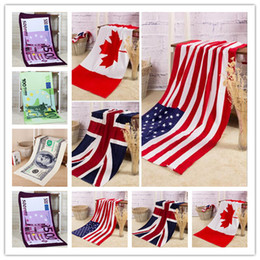 Wholesale Fashion US UK Canada Flag Cotton Bath Towels USD EURO Active Yoga Gym Beach Towels turkish towel cm