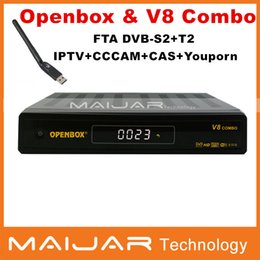 Wholesale Original Openbox V8 combo DVB S2 DVB T2 Twin Tuner HD Satellite Receiver Supported G GPRS LAN USB WiFi iptv Openbox