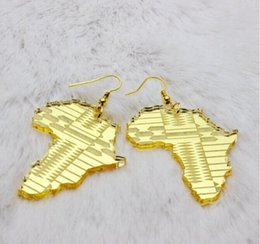 Wholesale European Fashion Jewelry Hip Hop Acrylic Gold Leaves Jesus Pharaoh Africa Map Dangle Earrings For Women