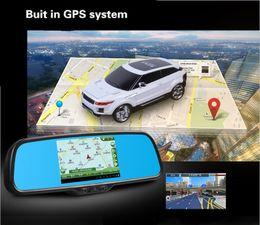 Wholesale Android dual lens Car DVR Camera Rear View Mirror HD night vision camera GPS navigation FM wifi A20 ARM Cortex A8 CPU GB DDR3